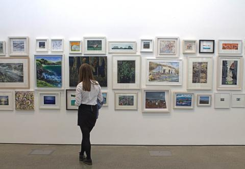 A woman looking at artwork in a gallery