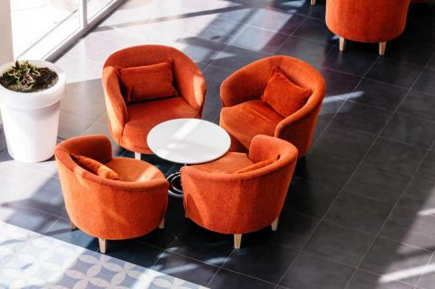 Comfortable chairs around a table